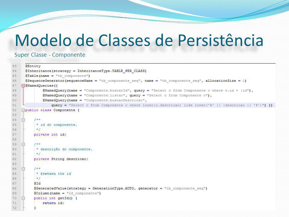 Modelo de Classes de Persistência Super Classe - Componente