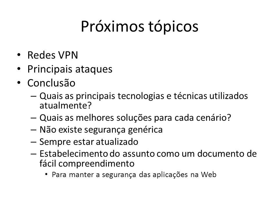 Próximos tópicos Redes VPN Principais ataques Conclusão