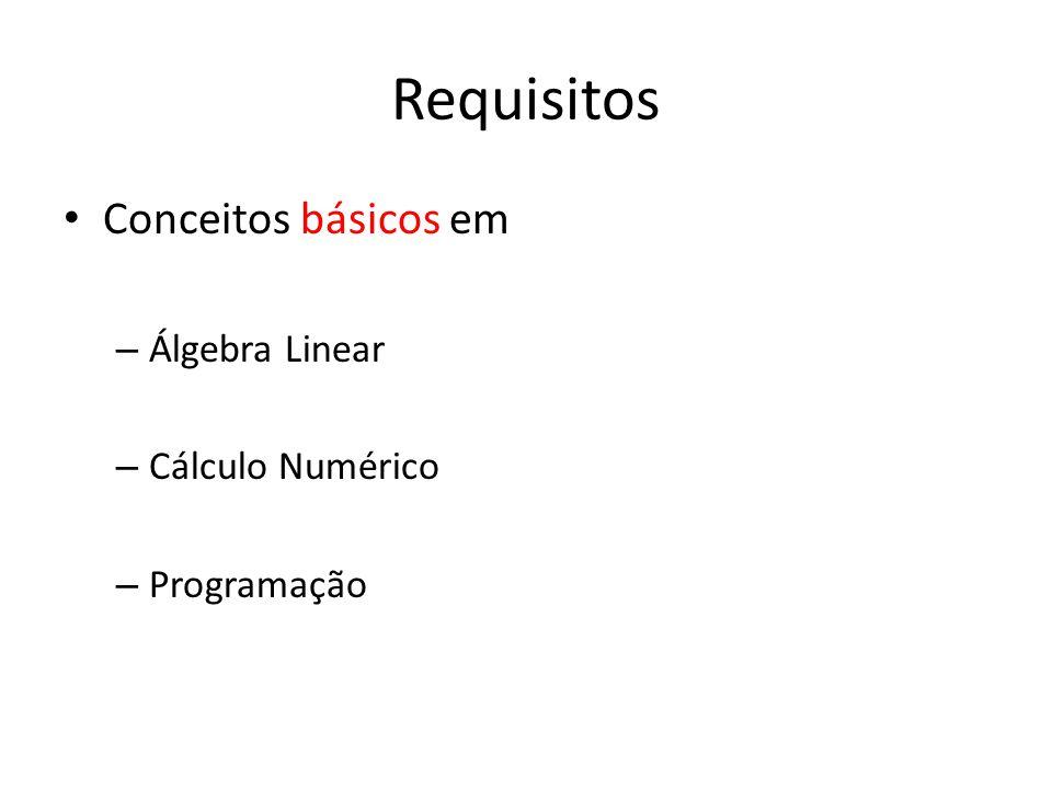 Requisitos Conceitos básicos em Álgebra Linear Cálculo Numérico
