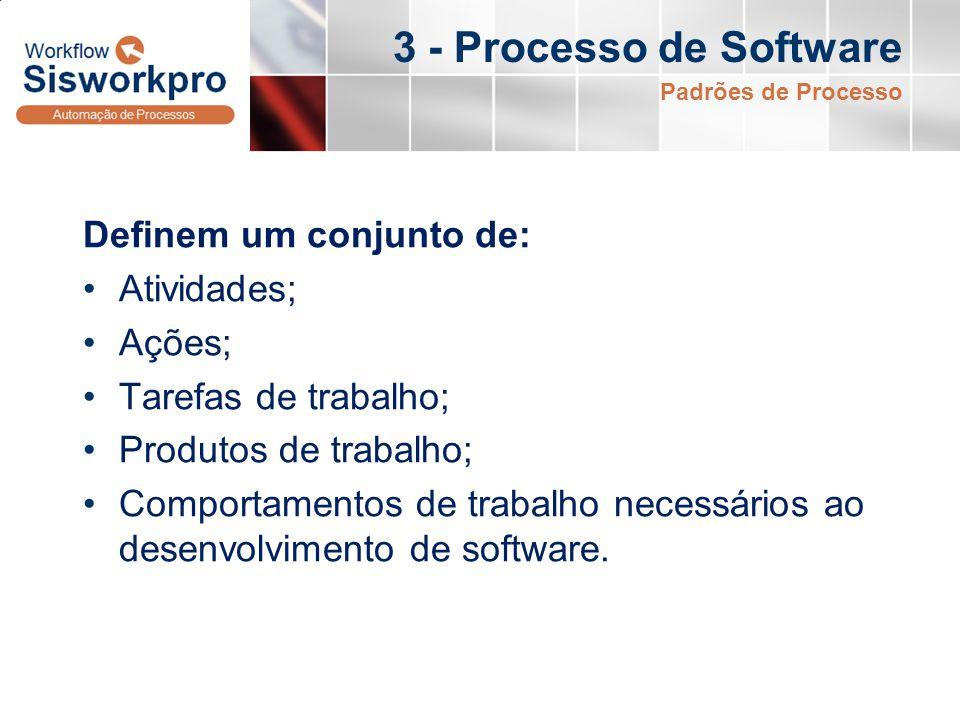 3 - Processo de Software Definem um conjunto de: Atividades; Ações;