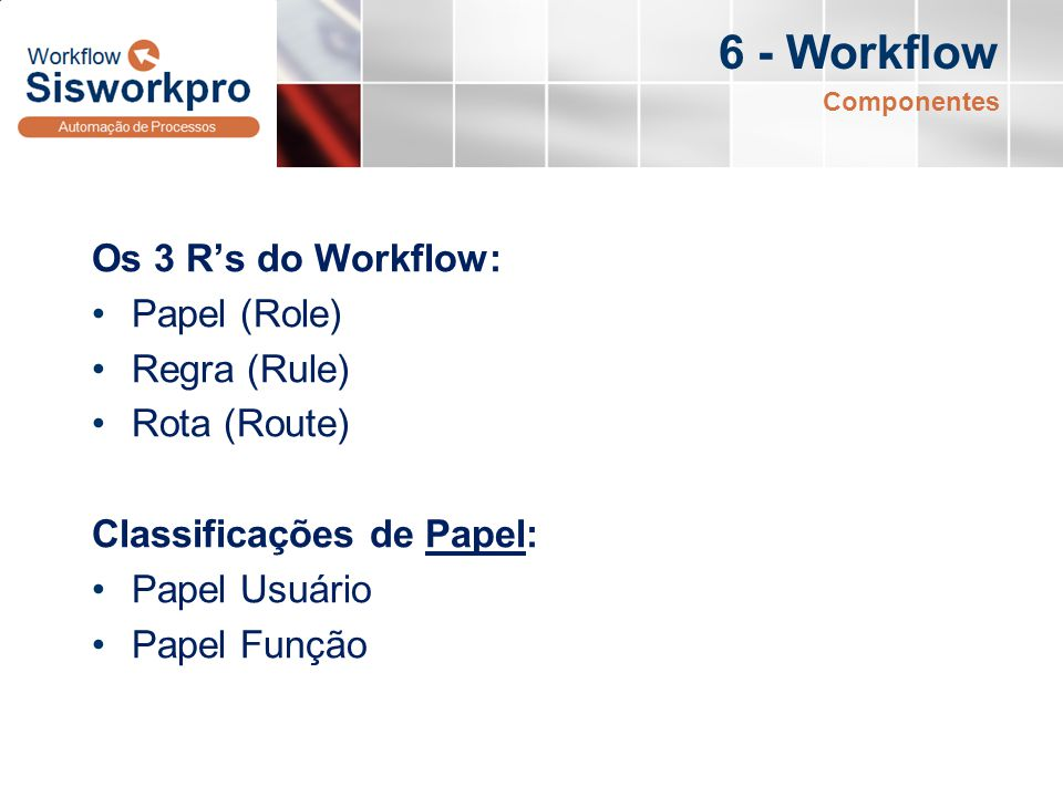 6 - Workflow Os 3 R's do Workflow: Papel (Role) Regra (Rule)