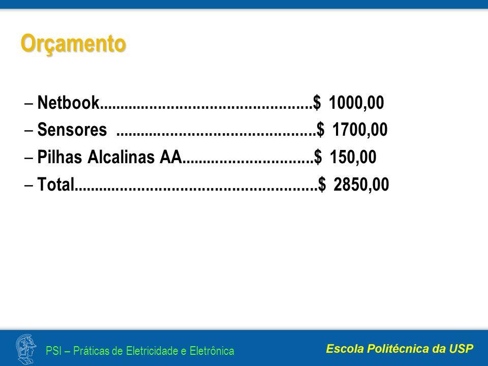 Orçamento Netbook..................................................$ 1000,00. Sensores ...............................................$ 1700,00.