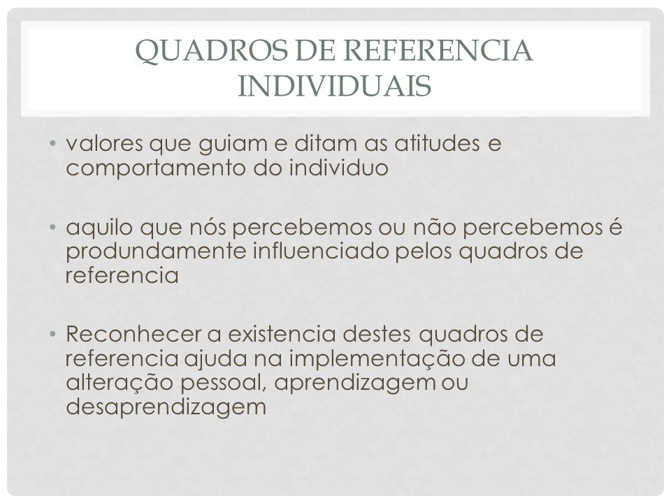 Quadros de referencia individuais