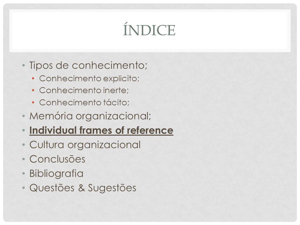 índice Tipos de conhecimento; Memória organizacional;