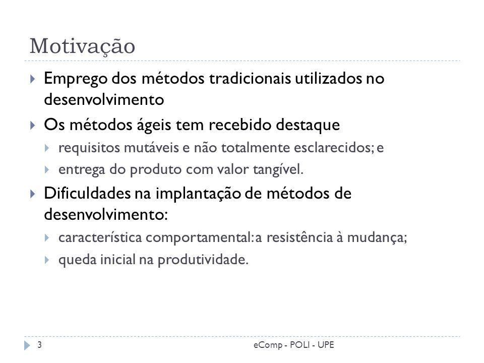 Motivação Emprego dos métodos tradicionais utilizados no desenvolvimento. Os métodos ágeis tem recebido destaque.