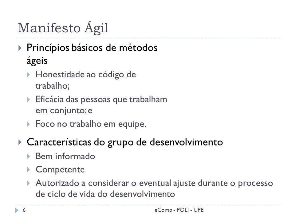 Manifesto Ágil Princípios básicos de métodos ágeis