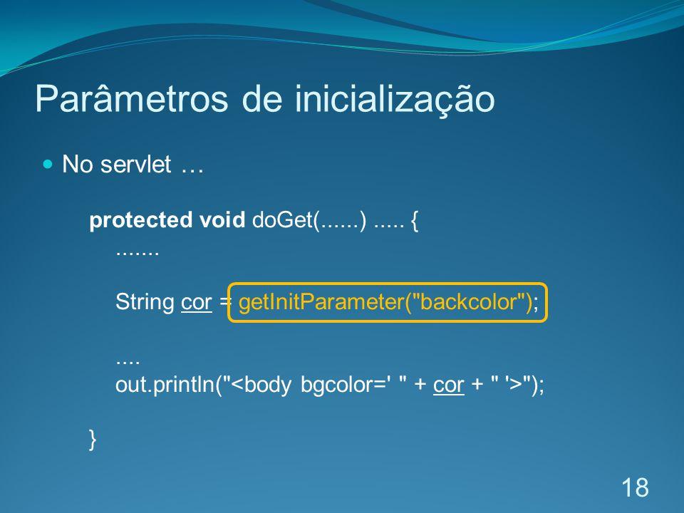 Parâmetros de inicialização