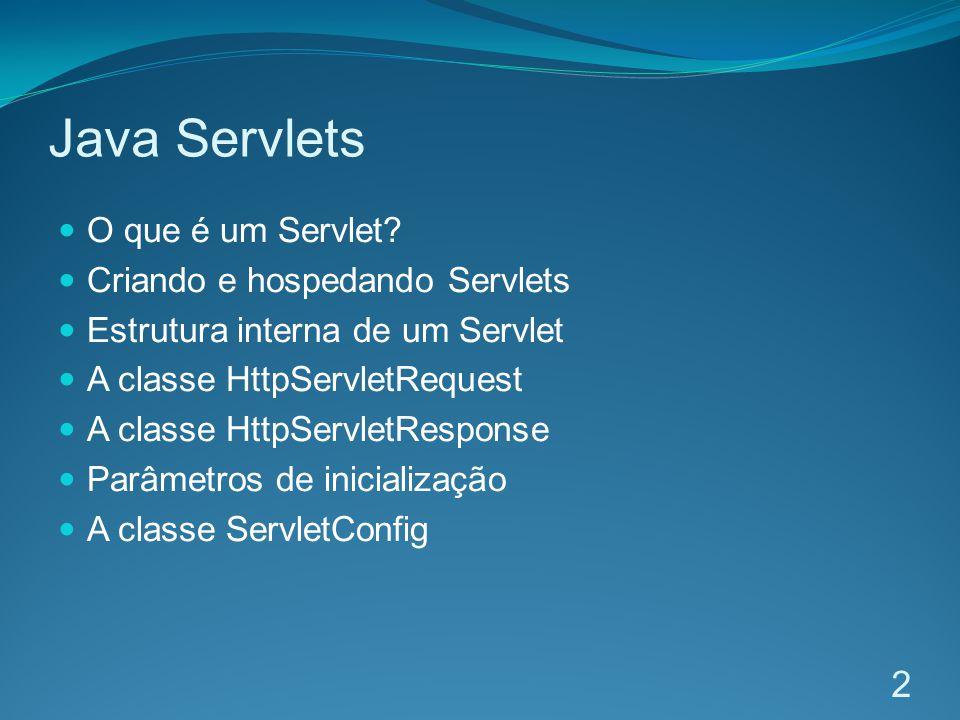 Java Servlets O que é um Servlet Criando e hospedando Servlets