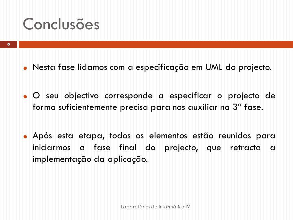 Conclusões Nesta fase lidamos com a especificação em UML do projecto.