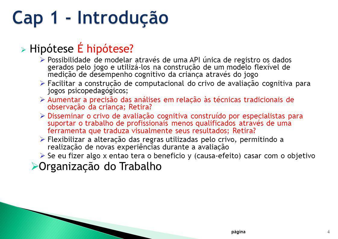 Cap 1 - Introdução Hipótese É hipótese Organização do Trabalho