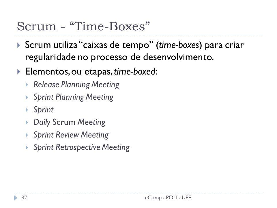 Scrum - Time-Boxes Scrum utiliza caixas de tempo (time-boxes) para criar regularidade no processo de desenvolvimento.