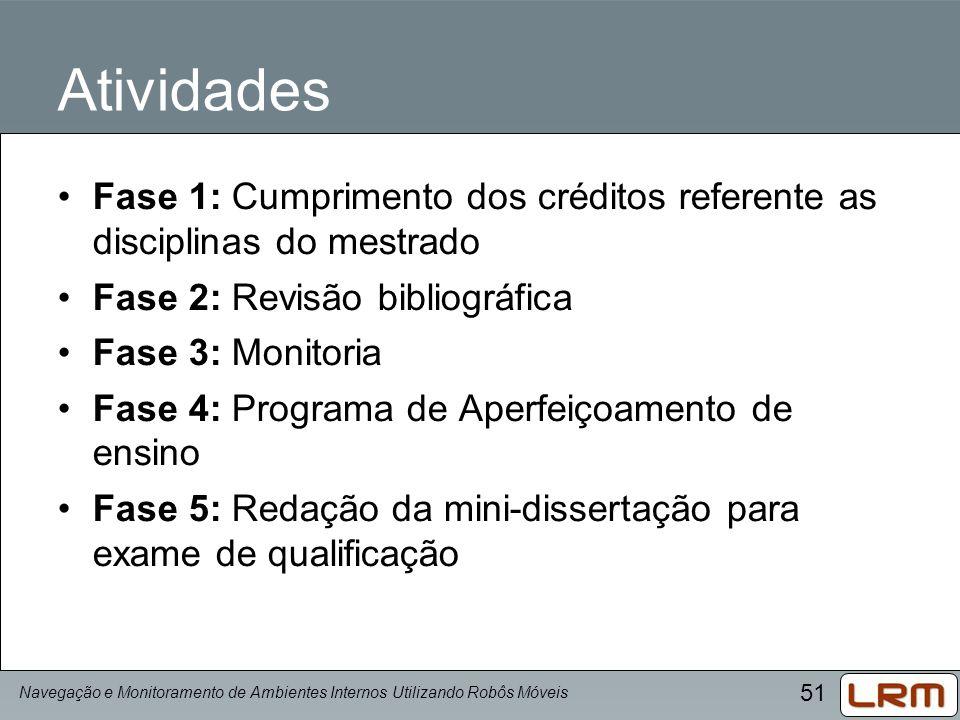 Atividades Fase 1: Cumprimento dos créditos referente as disciplinas do mestrado. Fase 2: Revisão bibliográfica.