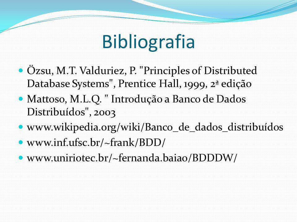 Bibliografia Özsu, M.T. Valduriez, P. Principles of Distributed Database Systems , Prentice Hall, 1999, 2ª edição.