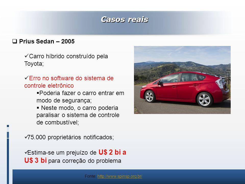 Casos reais Prius Sedan – 2005 Carro híbrido construído pela Toyota;