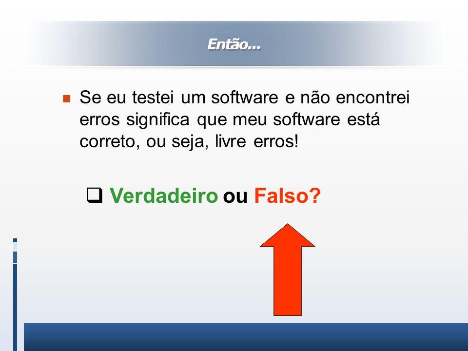 Então... Se eu testei um software e não encontrei erros significa que meu software está correto, ou seja, livre erros!