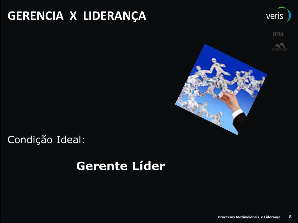 GERENCIA X LIDERANÇA Condição Ideal: Gerente Líder