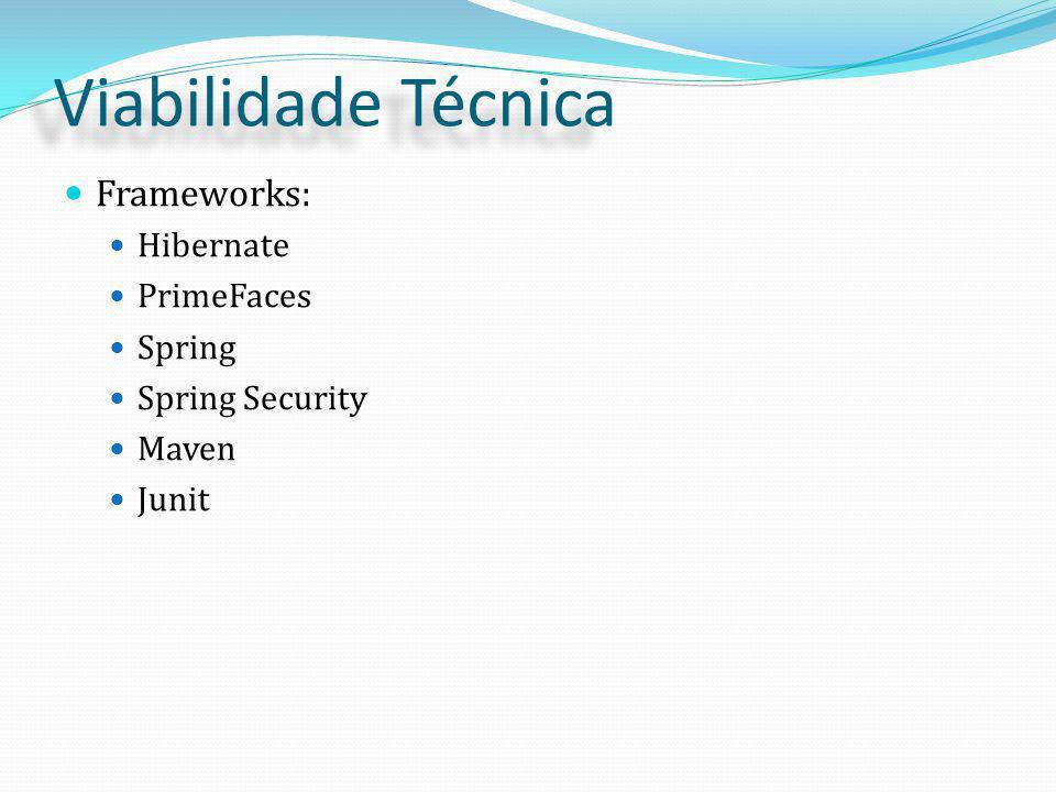 Viabilidade Técnica Frameworks: Hibernate PrimeFaces Spring