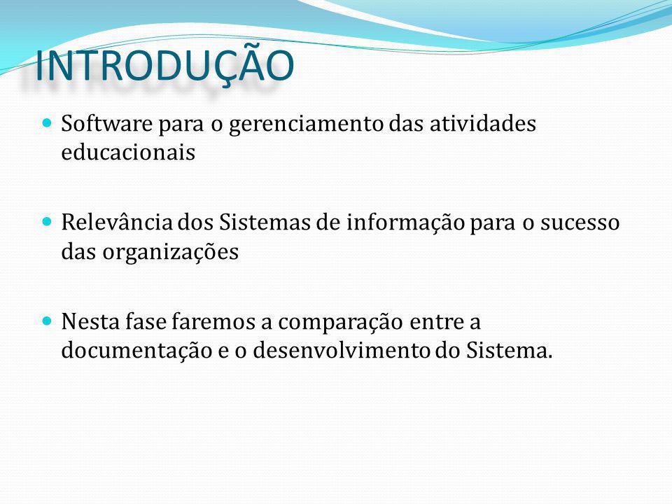INTRODUÇÃO Software para o gerenciamento das atividades educacionais