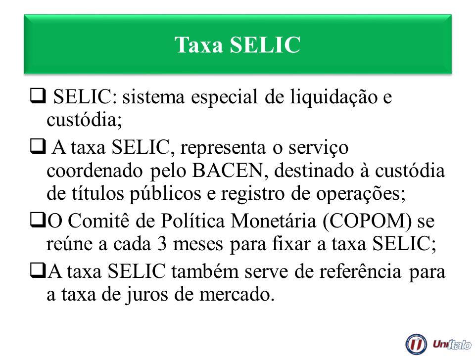Taxa SELIC SELIC: sistema especial de liquidação e custódia;