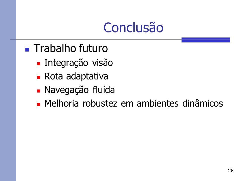 Conclusão Trabalho futuro Integração visão Rota adaptativa