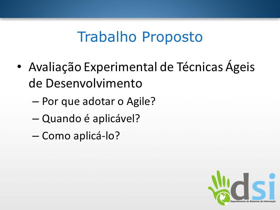 Trabalho Proposto Avaliação Experimental de Técnicas Ágeis de Desenvolvimento. Por que adotar o Agile
