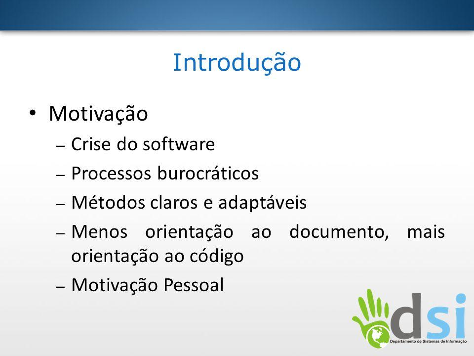Introdução Motivação Crise do software Processos burocráticos
