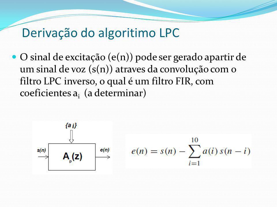 Derivação do algoritimo LPC
