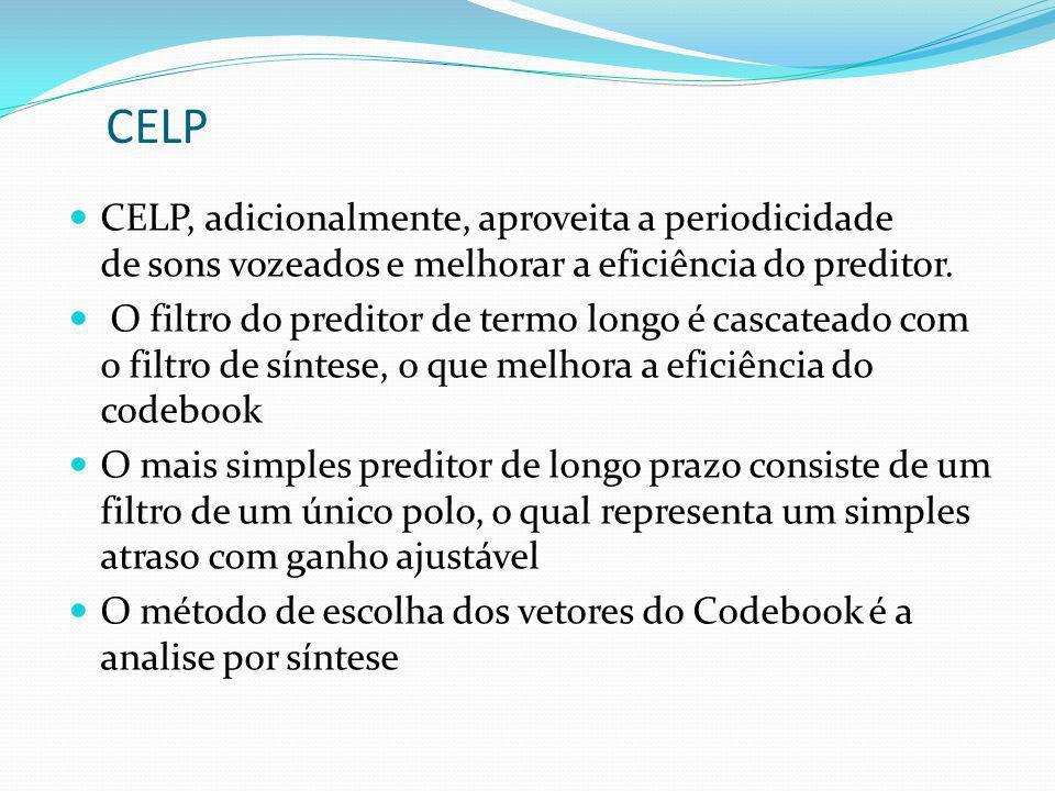 CELP CELP, adicionalmente, aproveita a periodicidade de sons vozeados e melhorar a eficiência do preditor.