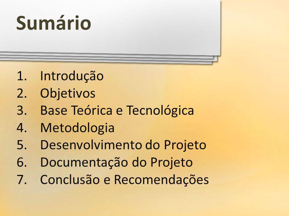 Sumário Introdução Objetivos Base Teórica e Tecnológica Metodologia