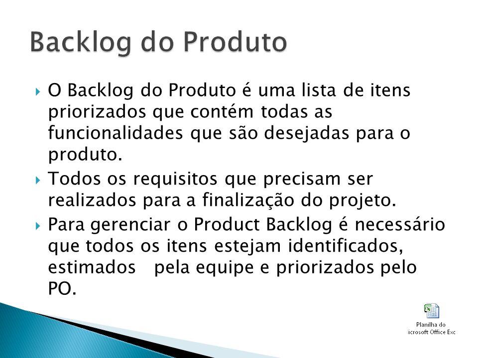 Backlog do Produto O Backlog do Produto é uma lista de itens priorizados que contém todas as funcionalidades que são desejadas para o produto.