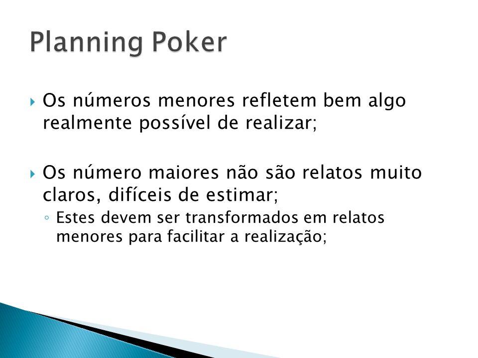 Planning Poker Os números menores refletem bem algo realmente possível de realizar;