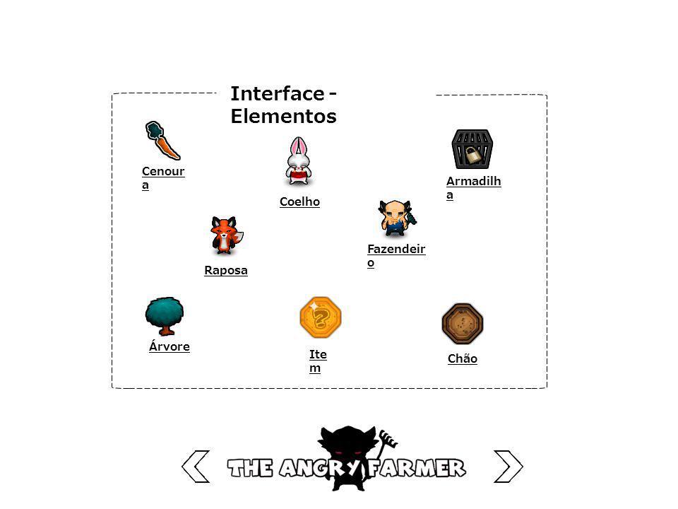 Interface - Elementos Cenoura Armadilha Coelho Fazendeiro Raposa