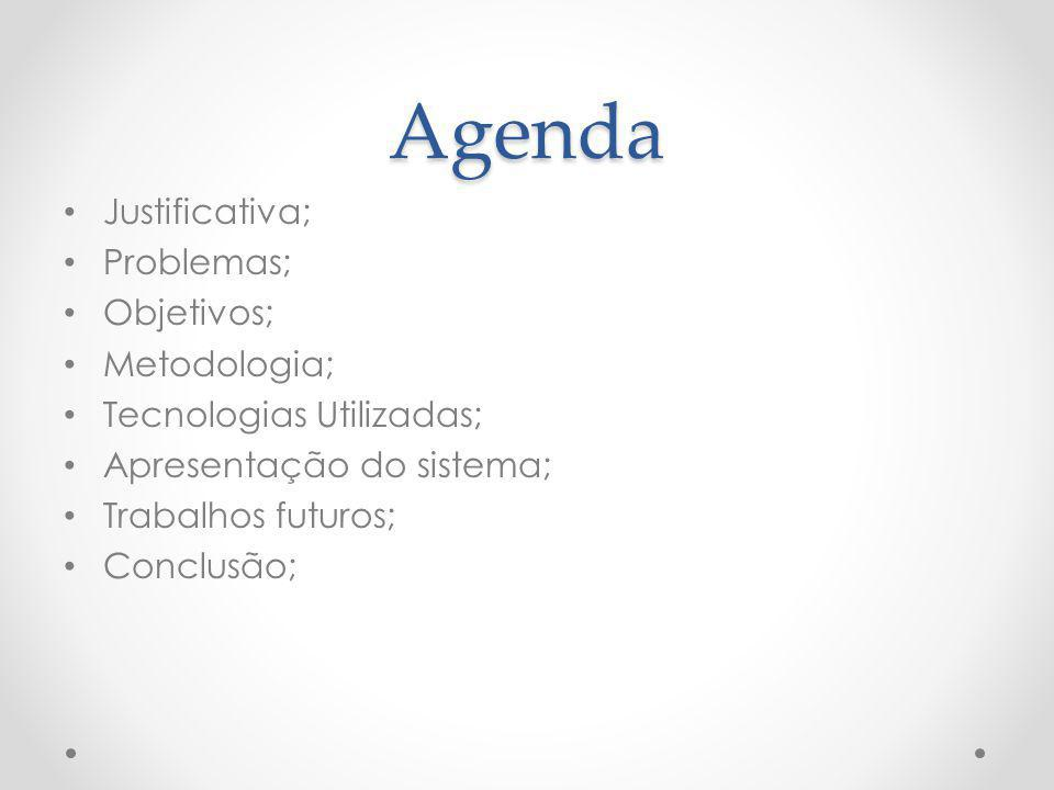Agenda Justificativa; Problemas; Objetivos; Metodologia;