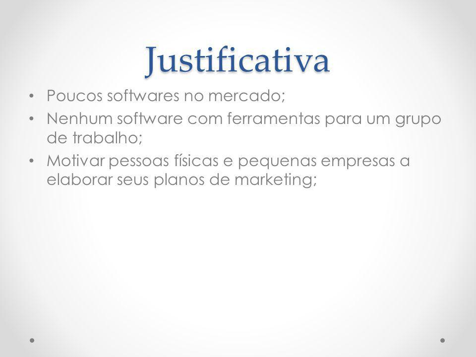 Justificativa Poucos softwares no mercado;