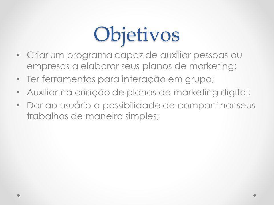 Objetivos Criar um programa capaz de auxiliar pessoas ou empresas a elaborar seus planos de marketing;