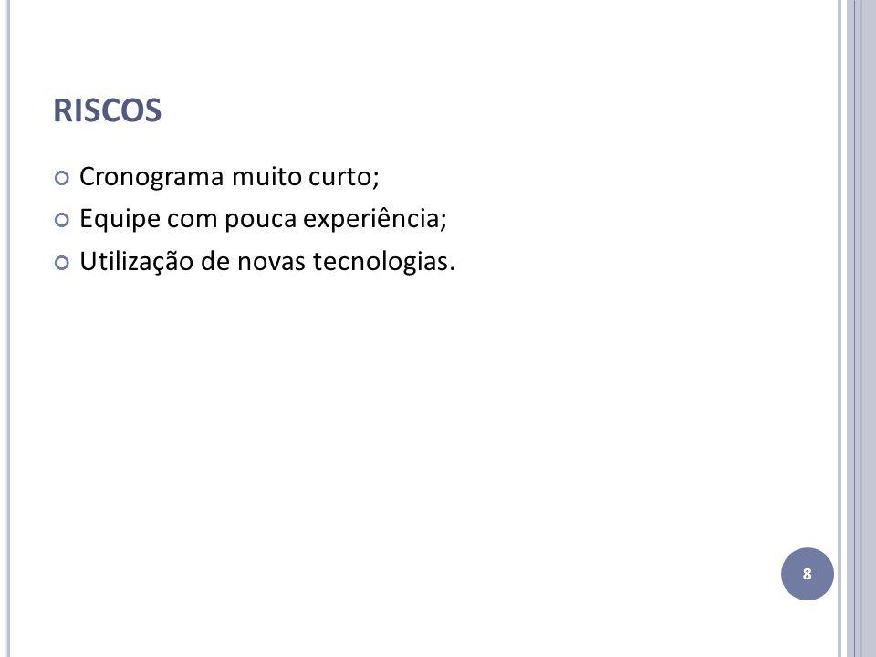 RISCOS Cronograma muito curto; Equipe com pouca experiência;