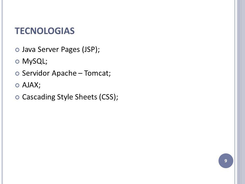 TECNOLOGIAS Java Server Pages (JSP); MySQL; Servidor Apache – Tomcat;