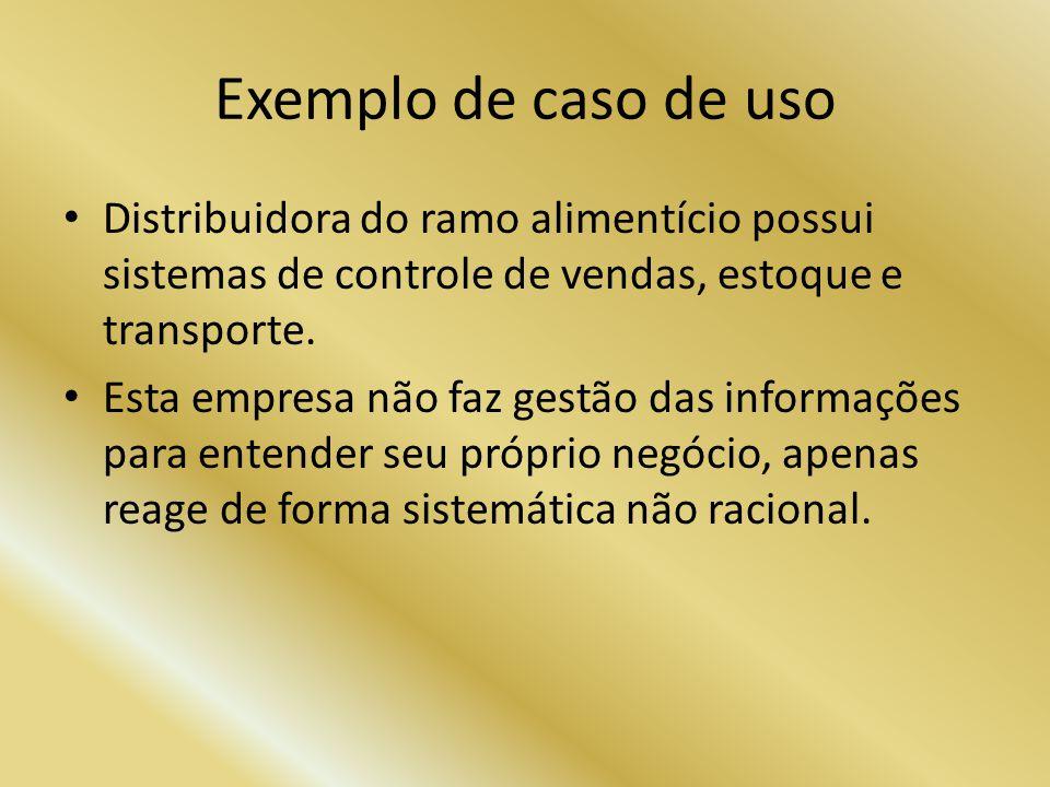 Exemplo de caso de uso Distribuidora do ramo alimentício possui sistemas de controle de vendas, estoque e transporte.
