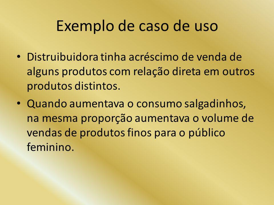 Exemplo de caso de uso Distruibuidora tinha acréscimo de venda de alguns produtos com relação direta em outros produtos distintos.
