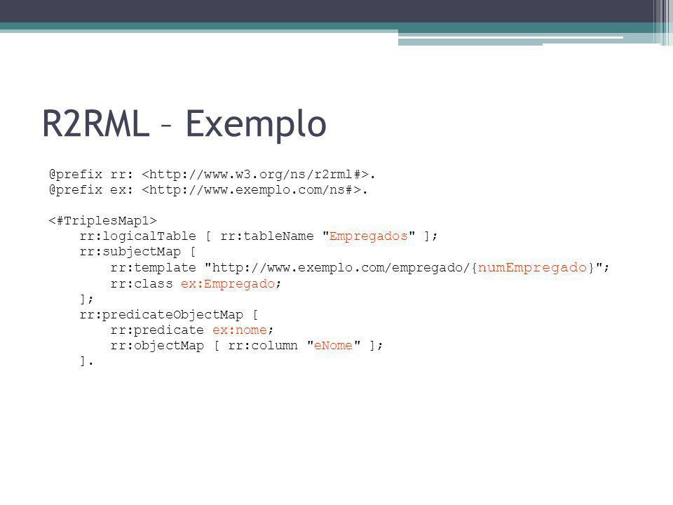 R2RML – Exemplo @prefix rr: <http://www.w3.org/ns/r2rml#>.