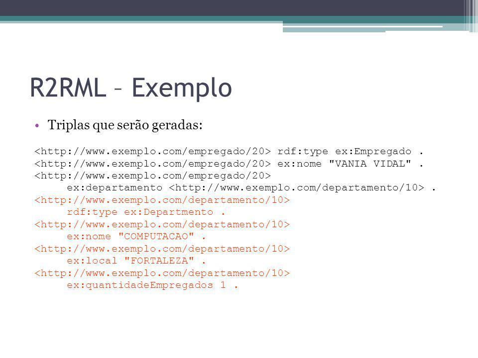 R2RML – Exemplo Triplas que serão geradas: