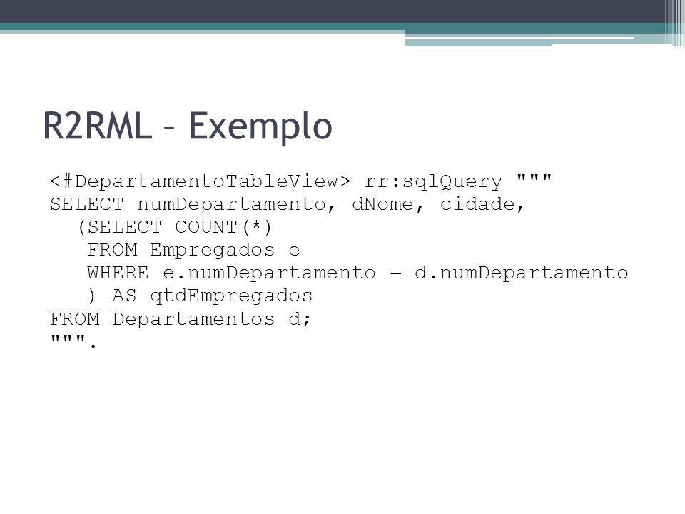 R2RML – Exemplo <#DepartamentoTableView> rr:sqlQuery