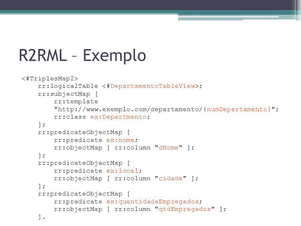 R2RML – Exemplo <#TriplesMap2>