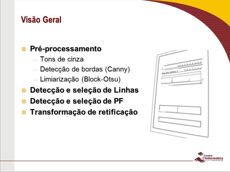 Visão Geral Pré-processamento Detecção e seleção de Linhas