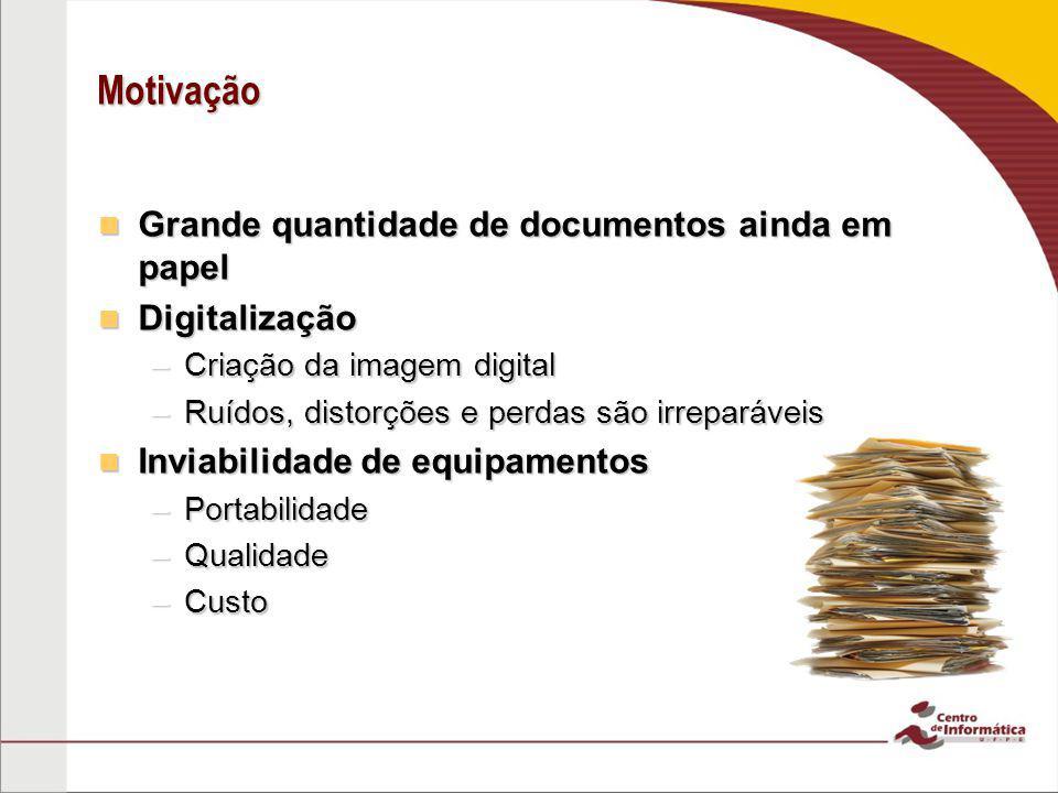 Motivação Grande quantidade de documentos ainda em papel Digitalização
