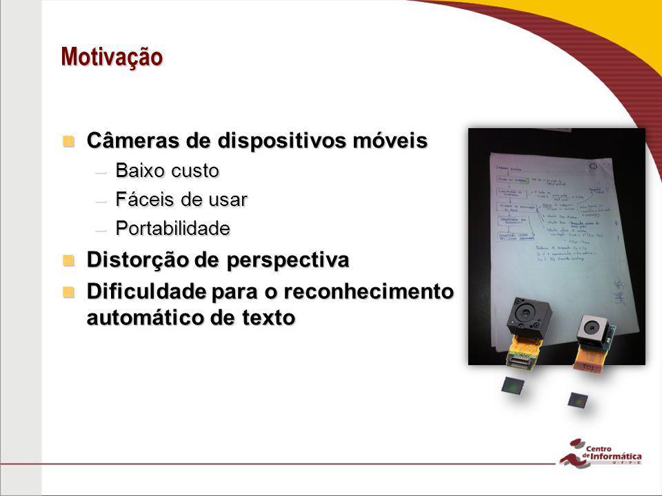 Motivação Câmeras de dispositivos móveis Distorção de perspectiva