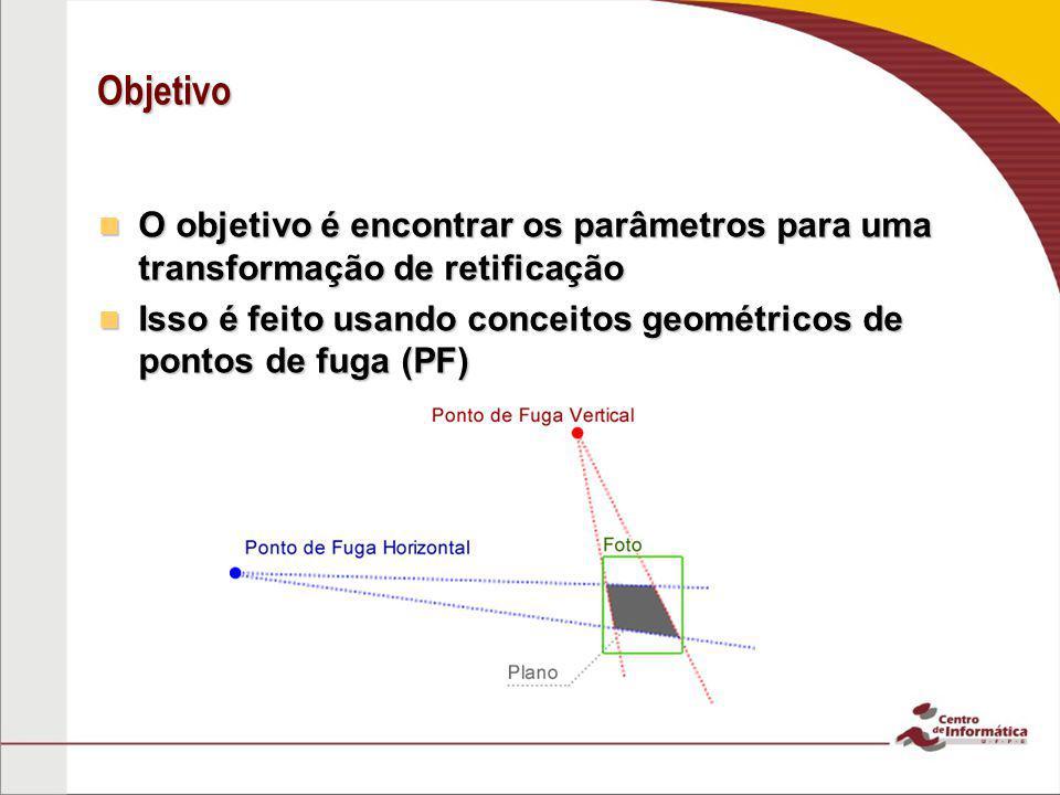 Objetivo O objetivo é encontrar os parâmetros para uma transformação de retificação.