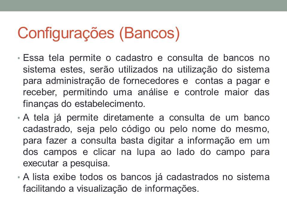Configurações (Bancos)