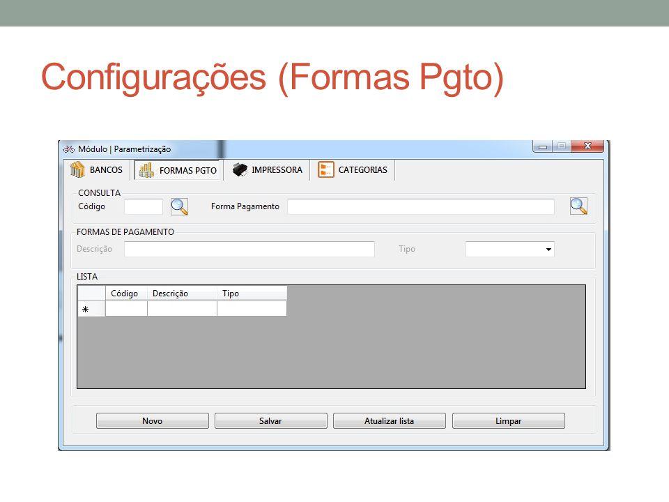 Configurações (Formas Pgto)