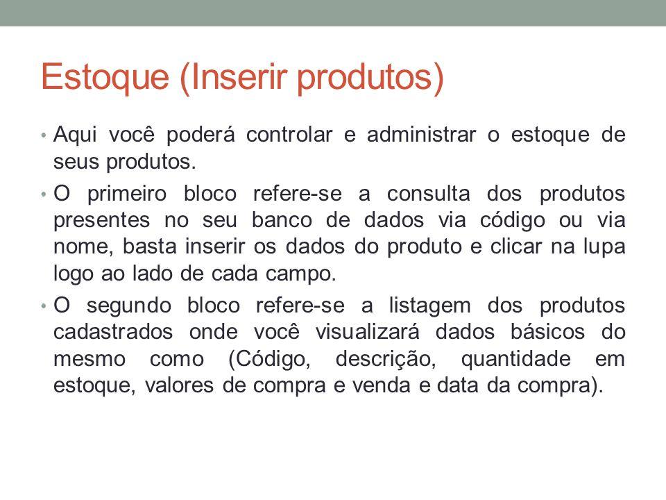 Estoque (Inserir produtos)